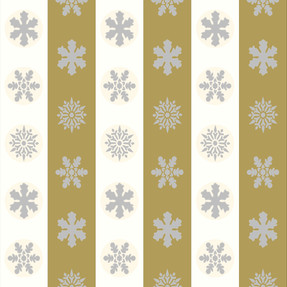 Snowflakes in Off White and Mustard Stripes