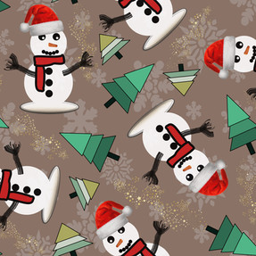Happy Snowman in Taupe