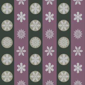 Snowflakes in Green and Mauve Stripes