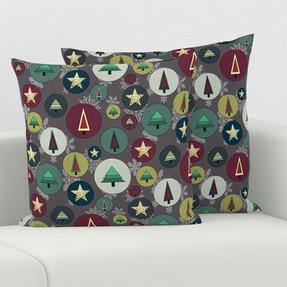 Xmas Balls in Stone Grey Cushion covers