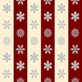 Snowflakes in Cream and Red Stripes