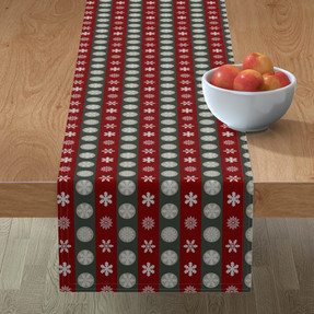 Snowflakes in blue and red stripes table runner