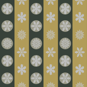 Snowflakes in Green and Mustard Stripes