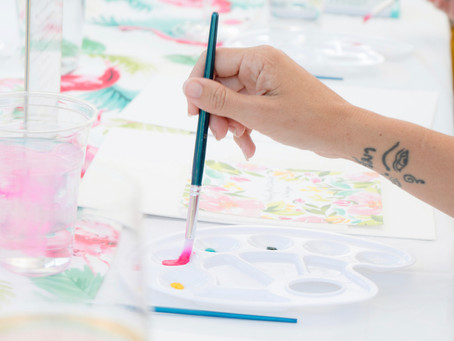 Learn the basics of watercolor while sipping on wine. No previous skills or artistic talent required