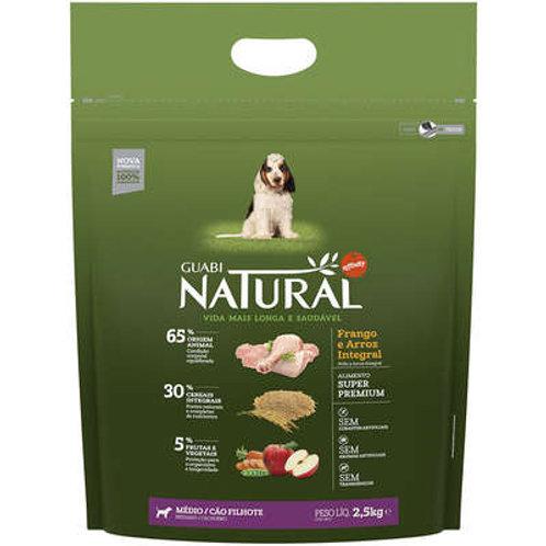 Guabi Natural Frango e Arroz Integral para Cães Filhotes Raças Média