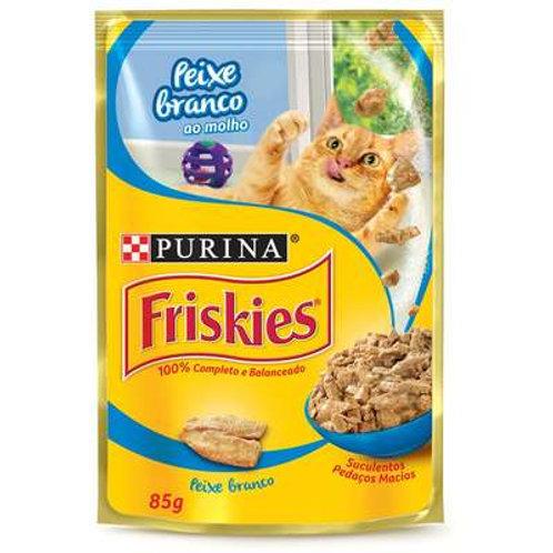 Ração Úmida Nestlé Purina Friskies Peixe Branco ao Molho para Gatos Adultos