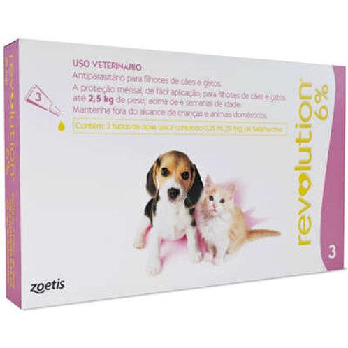 Antipulgas e Carrapatos Zoetis Revolution 6% para Cães e Gatos até 2,5 kg - 15 m