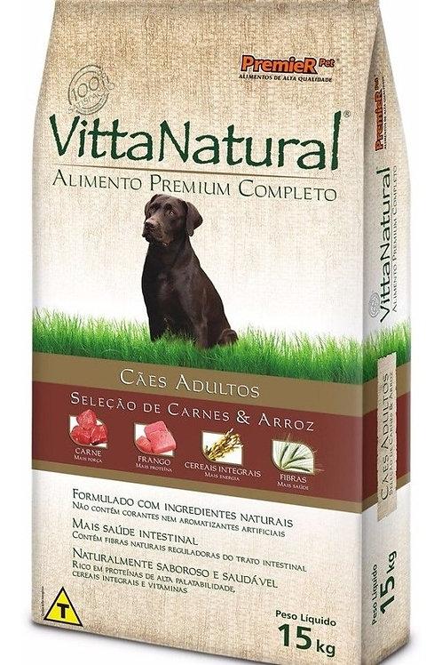 Ração Para Cães Vitta Natural Adultos Carne E Arroz 15 Kg