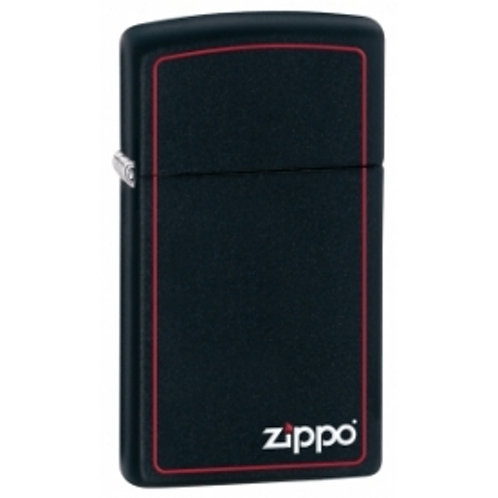 Zippo Slim With Logo & Boarder Black Matte