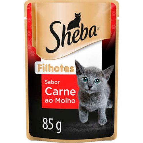 Ração Úmida Sheba Sachê Cortes Selecionados Sabor Carne ao Molho para Gatos Filh
