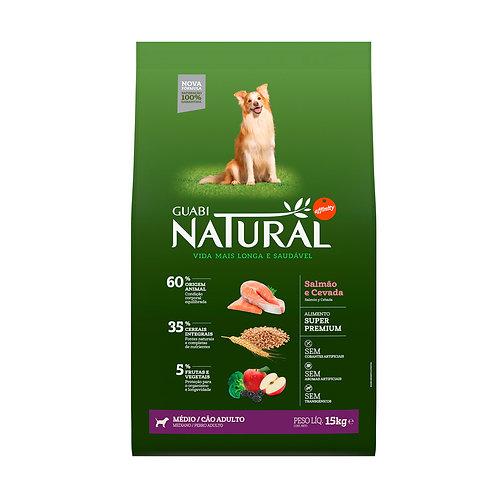 Guabi Natural para Cães Adultos de Raças Médias sabor Salmão & Cevada
