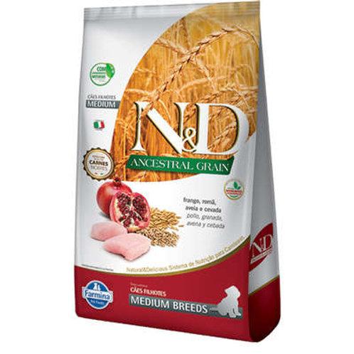 N&D Ancestral Grain Frango Cães Filhotes Raças Médias