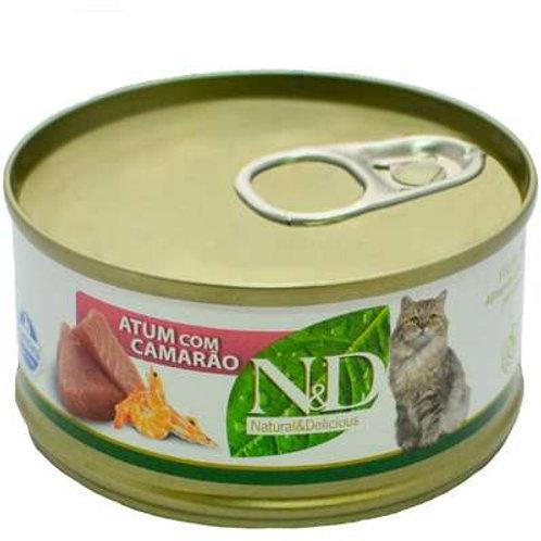 N&D Úmida de Atum e Camarão para Gatos - 70 g