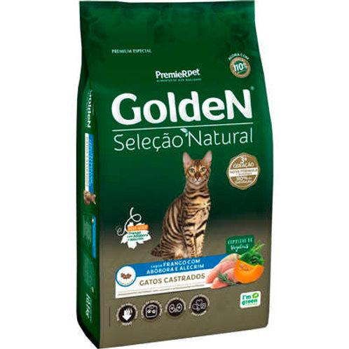 Ração Golden Premier Pet Seleção Natural Frango, Abóbora e Ale. p Gatos Castrado
