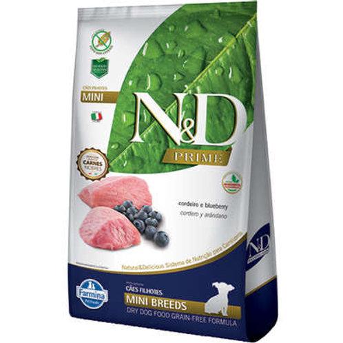 N&D Prime Cordeiro e Blueberry Cães Filhotes Raças Pequenas