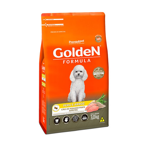 Ração Fórmula Golden para Cães Adultos de Porte Pequeno sabor Peru e Arroz
