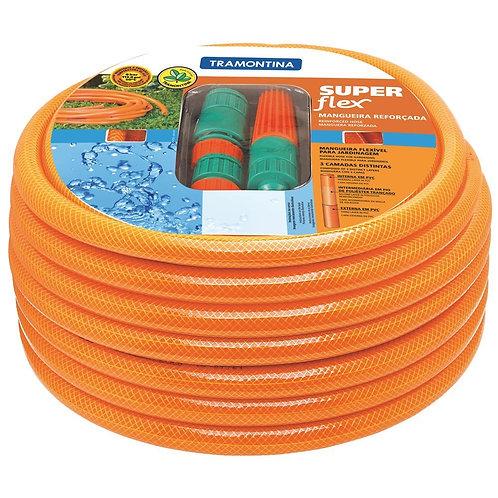 "Mangueira Super Flex 1/2"" Tramontina Laranja em PVC 3 Camadas 20 m com Engates R"