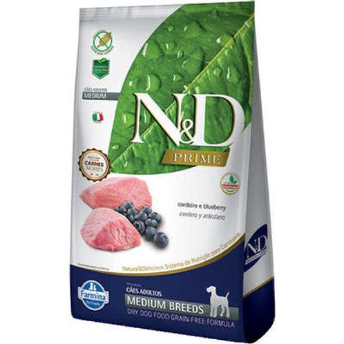 N&D Prime Cordeiro e Blueberry Cães Adultos Raças Médias