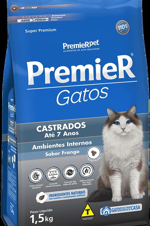 Ração Premier Pet Gatos Castrados até 7 anos Ambientes Internos sabor frango