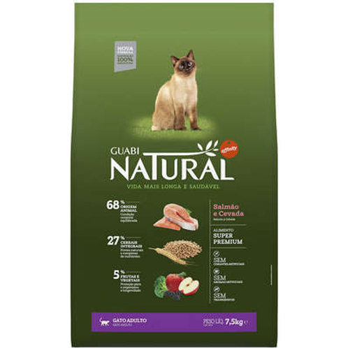 Guabi Natural Salmão e Cevada para Gato Adulto