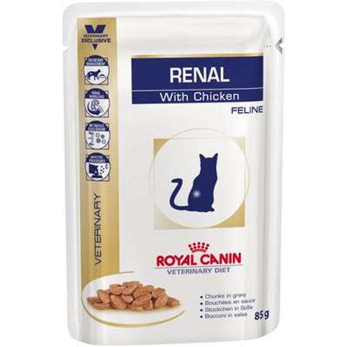 Ração Royal Canin Sachê Feline Veterinary Diet Renal Frango para Gatos com Doenç