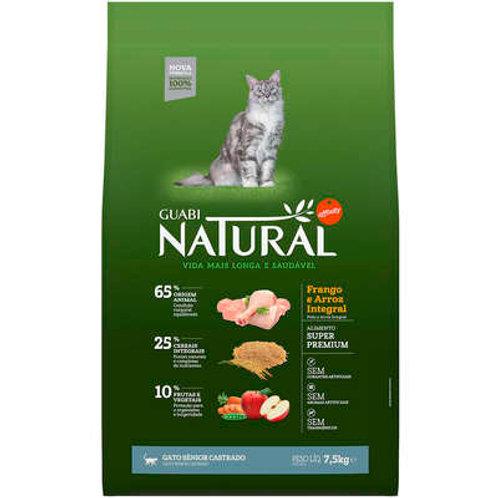 Guabi Natural Frango e Arroz Integral Gato Sênior Castrado
