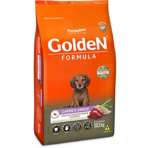 ção Golden Fórmula Mini Bits Cães Filhotes Raças Pequenas Sabor Carne e Arroz