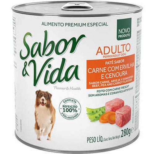 Sabor e Vida Lata Carne com Ervilha e Cenoura para Cães Adultos