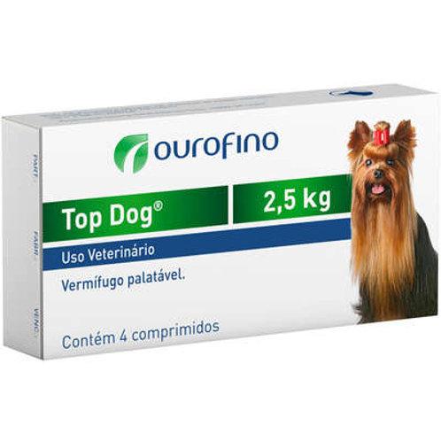 Vermifugo Ouro Fino Top Dog para Cães de até 2.5 Kg - 4 Comprimidos