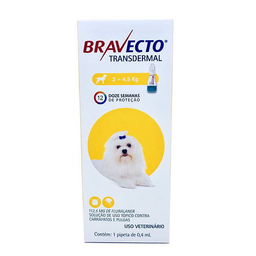 Antipulgas e Carrapatos MSD Bravecto Transdermal para Cães de 2 a 4,5 Kg