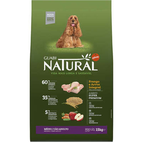 Guabi Natural Frango e Arroz Integral para Cães Adultos Raças Média