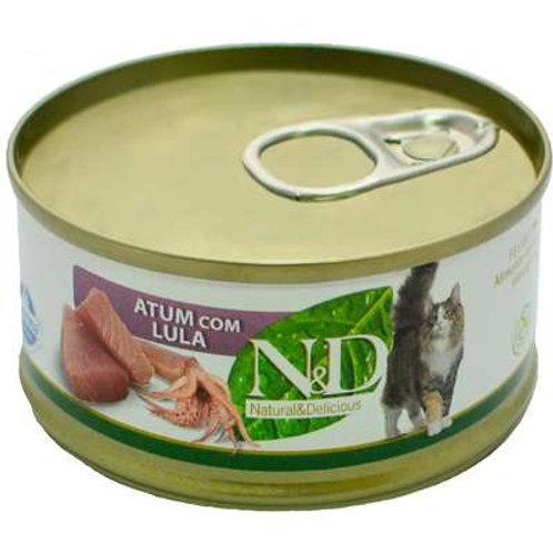 N&D Úmida de Atum e Lula para Gatos - 70 g