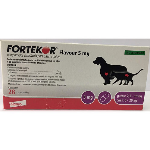 Fortekor Flavour 5mg Novartis Cães e Gatos 28 Comprimidos