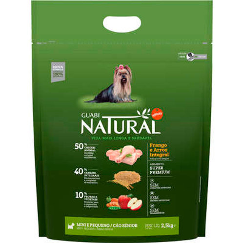 Guabi Natural Frango e Arroz Integral Cão Sênior Mini e Pequeno