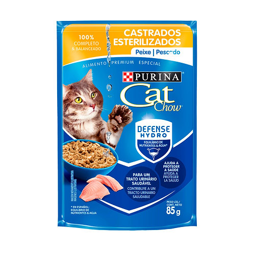 Ração Úmida Nestlé Purina Cat Chow para Gatos Castrados sabor Peixe 85g
