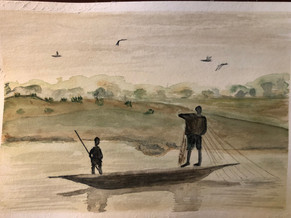 Fishermen in Mali. 2018. Watercolor. 30 x 22.5 cm