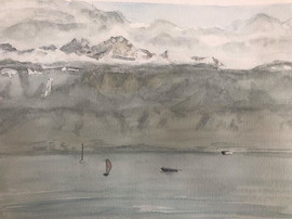 sketch of the Geneva lake from Lausanne