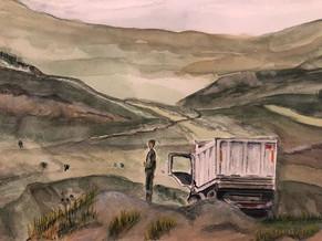 White truck in Azerbaidjan. 2019. Watercolor. 30 x 22.cm