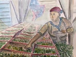 Reaching for tea leaves at the bazaar. 2019. Watercolor. 30 x 22.5 cm
