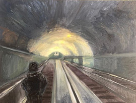Down the subway. Oil on canvas. 60x50 cm