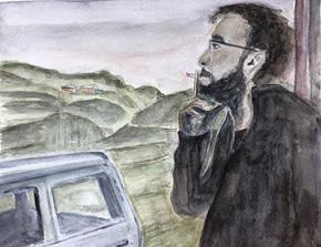 A friend smoking. 2019. Watercolor. 30 x 22.5 cm