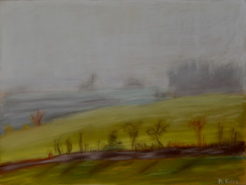 Jour de brouillard derrière une vitre de train en marche