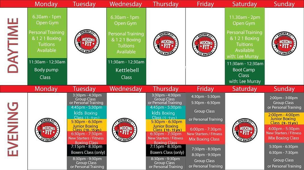 Boxng Fit Timetable
