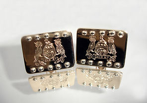 Coat of arms of Leeds and Fowler gold cufflinks