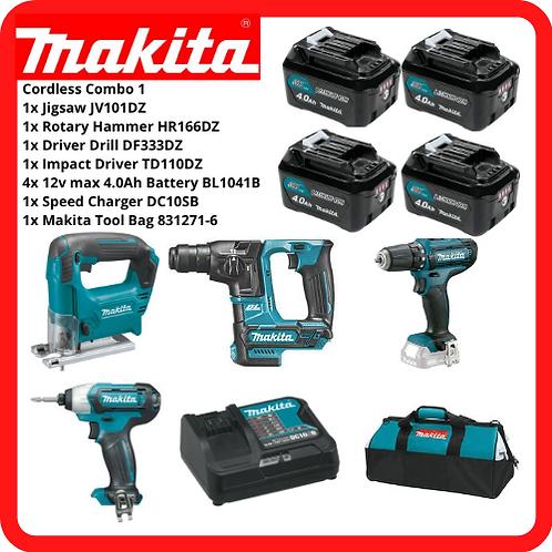 MAKITA 12V Cordless Combo1 Jigsaw + Rotary Hammer + Driver Drill + Impact Driver