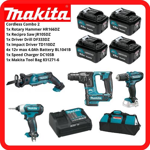 MAKITA 12V Cordless Combo2 Recipro Saw+Rotary Hammer+Driver Drill+Impact Driver