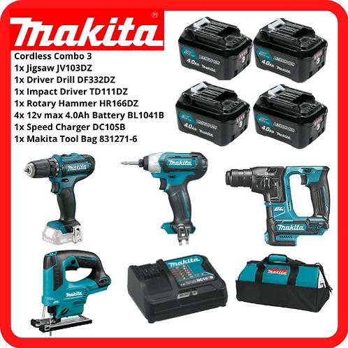 MAKITA 12V Cordless Combo 3 Jigsaw + Rotary Hammer + Driver Drill +Impact Driver