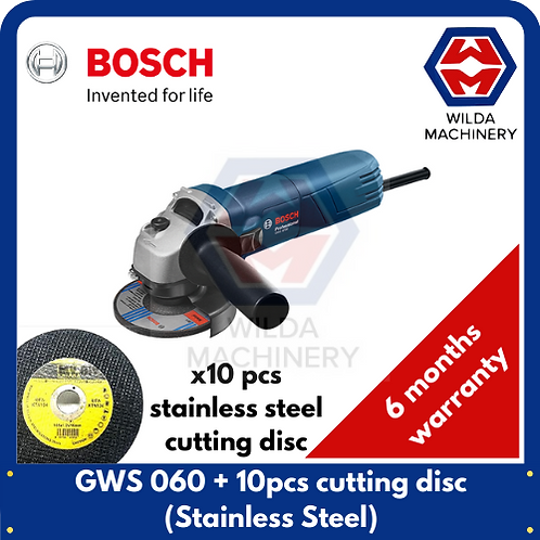 """Bosch 4"""" 670W Angle Grinder GWS 060 + 10pcs Stainless Steel Cutting Disc"""