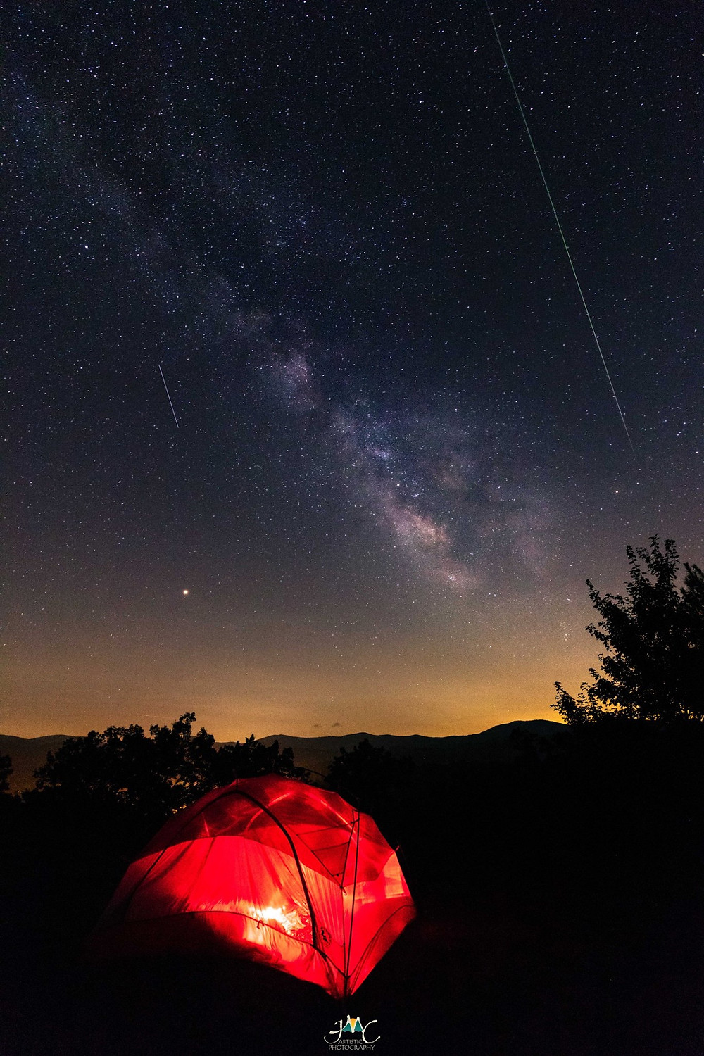 Our tent with mountains, Mars & meteors as a backdrop