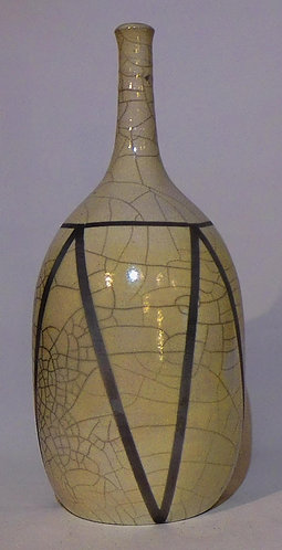 Porcelain Crackle Raku Bottle